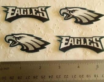 Philadelphia Eagles 4pc set Iron On Fabric Appliques No Sew