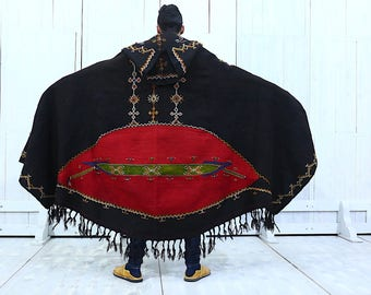 Antique Berber Black Hooded Hand Embroidered Tribal  Cape