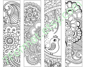 Bookmarks Coloring Printable, Instant Download. 14.