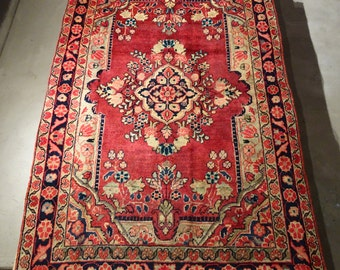 "Vintage Persian Rug 1950's MAHAL 4' 2"" x 6' 5"" Handmade, Hand-knotted, Natural Dyes, Bohemian, Boho Chic, Made in Iran 780m"