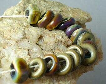 Lampwork beads/SRA lampwork/beads/organic/earthy/big hole beads/fall/autumn/