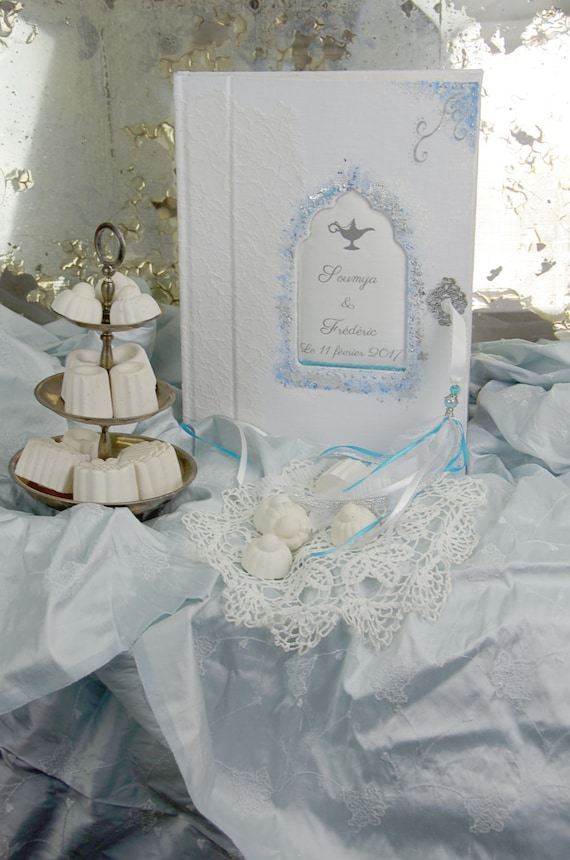 """Wedding Guest book """" Mille et une nuits """" lace from Calais french lace  with your name Personalized"""