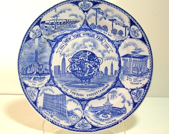1964 New York World's Fair Blue and White Plate