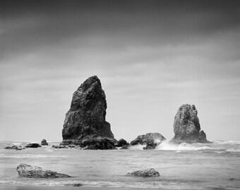 Cannon Beach, Oregon Landscape Black & White Print - 11x14 Print in a 16x20 Wood or Metal Frame