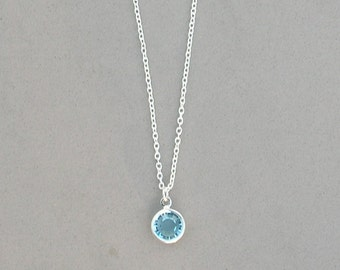 8 mm March Birthstone- Aquamarine Drop Necklace Gold or Silver plated