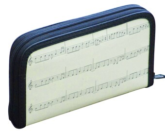 Medium zip wallet using music sheets, music gift for her, gift for musician, vegan wallet, Upcycle wallet card zipper, Mom gift