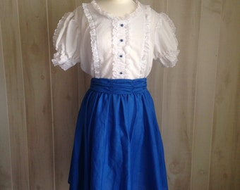 Blue Square Dance Vintage Dress Country Blue White '70s