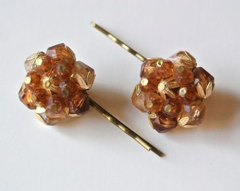 Vintage Copper Bronze Beaded upcycled hair pins, Bobby Pin, Hair Jewelry, pair set of two