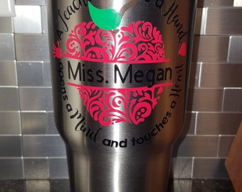30 oz Stainless Steel Teacher Tumbler/Custom Teacher Tumblers/Custom Tumblers/Monogrammed Tumbler/ Gifts for her/Gifts for Him/Coffee Lovers