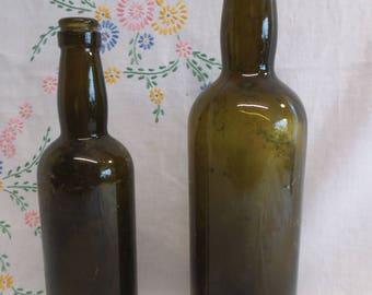 Two Vintage Green Ale or Beer Bottles - Garden Find