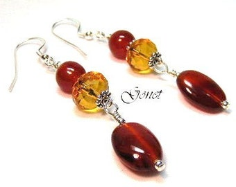 Red Agate and Citrine Dangle Earrings by Gonet Jewelry Design