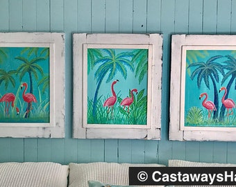 Original Flamingo Paintings Set of Three Tropical Florida Beach House Art Wall Decor Painting by CastawaysHall  - Ready to Ship