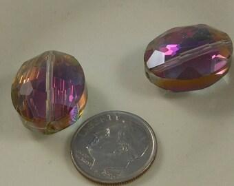 Large Faceted Oval Crystal Beads 20x16mm Rainbow AB (Qty 2) PH20x16OVL-RainAB