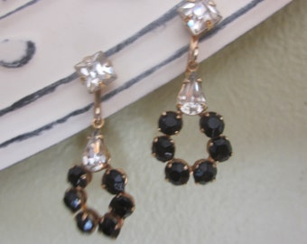 SALE Vintage Black and Clear Rhinestone Drop Earrings, Screw Backs, Perfect for Mother of Bride, Bridesmaid, Vintage Wedding, Birthday More