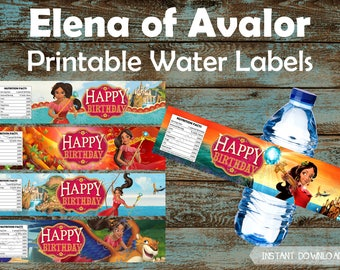 Elena of Avalor Water Bottle Labels, Elena of Avalor Printable Water Labels, Elena of Avalor Party Favors, Elena of Avalor Party Supplies