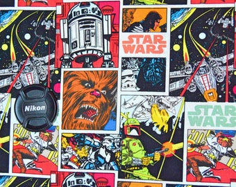 Star Wars Comic Fabric Featuring Luke, Leia, Han Solo, Chewbacca, R2D2, Darth Vader, Storm Trooper, Boba Fet, and X Wing