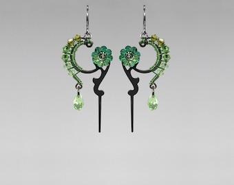 Steampunk Earrings with Green Swarovski Crystals, Vintage Clock Hands, Swarovski Earrings, Wedding Jewelry, Wire Wrapped, Dionysus II v10