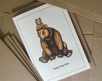 Sleepy Papa Bear / New Baby Greetings Card