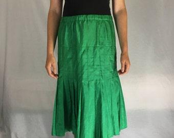 Vintage Silk Pleated Emerald Skirt