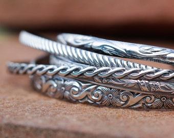 Twist Pattern Silver Cuff Bracelet