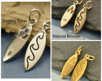 Sterling Silver, Surfboard Charm, Surfboard Jewelry, Silver Surfboard, Surfer Jewelry, Surfer Charm, Surfing Charm, Surfing Jewelry