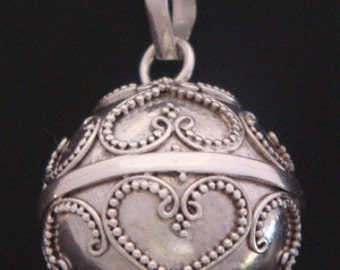 Sterling Silver Harmony Ball with Balinese Hearts Designs on the 925 Silver Chime Ball, Bola Necklace, Angel Caller, Pregnancy Gift 475-22