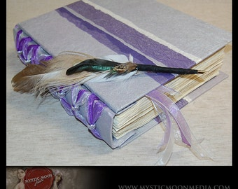 Wedding Guest Book Alternative / Silver Purple Patchwork Handmade Journal / Sketch Book / Quill Pen / Book of Shadows / Wicca / Pagan