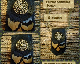 Black leather, feathers, flowers button pendant