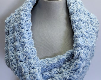 Handmade Baby Blue Infinity Scarf, Knit Scarf, Baby Blanket Stitch Crocheted Scarf On Sale Now