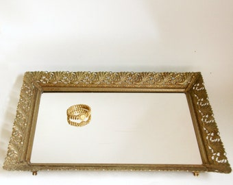Vintage Vanity Tray, Large Mirror Tray, Gold Dresser Tray, Ornate Perfume Tray, Hollywood Regency Boudoir