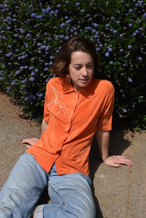 Pamela Tangerine Short Sleeve Shirt.