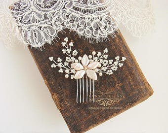 Gypsophila Bridal Hair Accessories, Babys Breath Hair Comb, Ivory Pearl Comb, Wedding Accessories, White Flower Hair Comb, Mini Pearl Comb