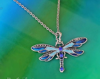 Blue Dragonfly Necklace, Long Rhinestone Necklace, Blue Enamel Dragonfly Pendant, Butterfly Necklace, Insect Pendant Necklace