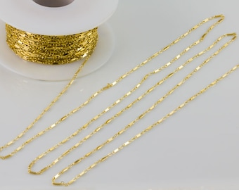 5 feet-Flat Bar Chain, Gold Filled, Sterling Silver Chain by Foot, Layering, Modern, Simple Chain, Everyday Wear, Delicate, Dainty,SCNF120