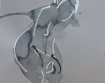 Nude painting of One minute pose 114.5 nude art, original, gesture sketch by Gretchen Kelly