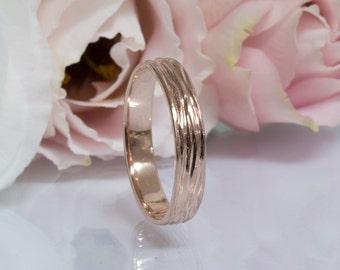 14k Rose gold wedding ring Mens wedding band Male wedding band Thin band 4mm Fine gold band Unique wedding ring Handmade