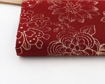 Oxford Floral Fabric - Beautiful Flower, Botanical Fabric, Red, Blue By The Yard