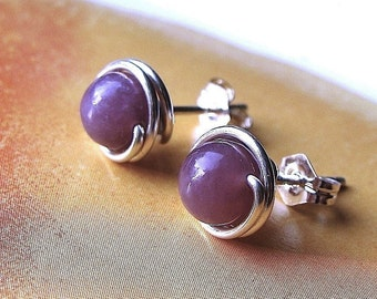 Lepidolite Studs 4mm or 6mm Studs Post Earrings Wire Wrapped in Sterling Silver
