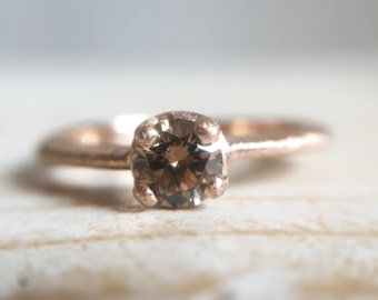18k red gold ring with brown, brilliant cut diamond - Handmade engagement ring