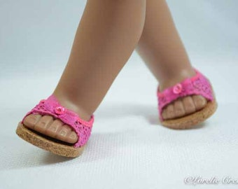 American Girl, 18 inch doll SHOES SANDALS beach flip flops peeptoe flats in Hot Pink LACY Look with Bow and Rhinestone Trim