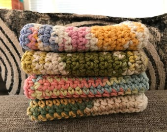 Cotton Crochet Dishcloths--Set of 4--100% Cotton