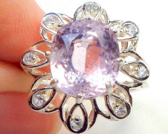 6.59Ct. Kunzite, Transparent Lavender/Pink, Large Faceted Natural Gemstone,14K White Gold/Sterling Silver Filigree,White Sapphire Accents