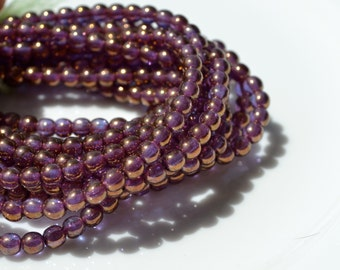 4mm Bronze Purple Metallic Round Beads   50