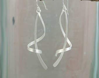 Silver Dangle Earrings with Satin Finish / Long Earrings for Pierced Ears