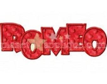 ROMEO Iron On Patch Applique Machine Embroidered Iron On Applique Valentine