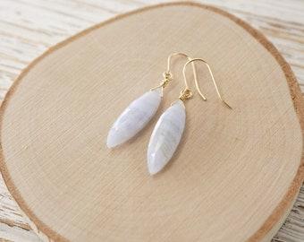 Blue Lace Agate Gemstone Drop earrings- 14k Gold-fill