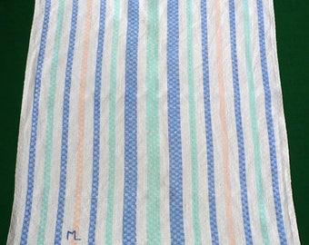 "Vintage linen Towel Monogram ""M"" or ""ML"" embroidery colorful stripes kitchen towel dishtowel"