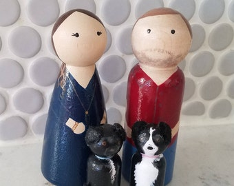 Custom Peg Doll Family of 4 // Custom Wooden Family Portrait // Wooden Personalized Family