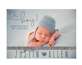 Custom Photo Birth Announcement, Birth Announcement, Baby Birth Announcement, Baby Boy Birth Announcement, Boy BIrth Announcement