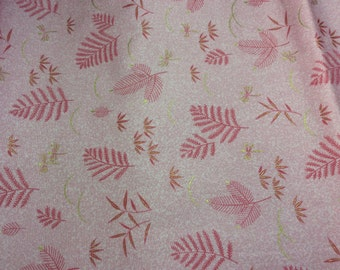 Kona Bay Fabric, design EMPR-24 dusty rose background with rose colored and green leafs
